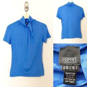 Esprit Mock Blue Short Sleeve T-Shirt - SZ M